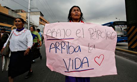 Indian women rotest against extraction of oil from Yasuni Amazon reserve, Ecuador